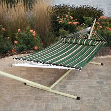 Hammock And Stand Set Furniture Cotton Hammock With Green And White Striped