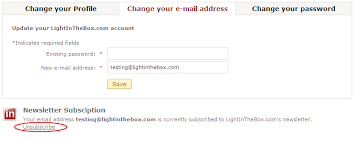 light in the box number how do i change my email preference