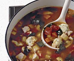 turkey soup with dill parsley and chive dumplings finecooking