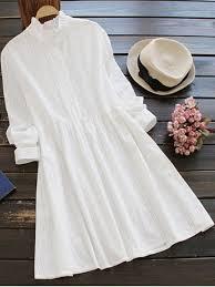 long sleeve ruffle collar shirt dress white long sleeve dresses