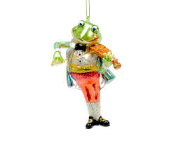 glass christmas tree decoration frog prince with violin r u0026 c