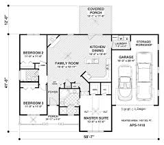 3 Bedroom Ranch Floor Plans Ranch House Plan With 3 Bedrooms And 2 5 Baths Plan 3059
