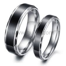 cheap titanium rings images Personalized name black stainless steel cheap rings for couples jpg