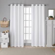 Winter Window Curtains Antique Shantung Winter White Twill Woven Brushed Grommet Top