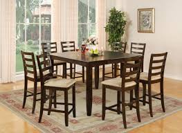 high dining room table 9 pc square counter height dining room table 8 chairs square