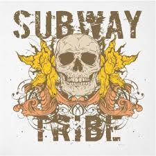 text subway tribe and skull st for t shirt in vector design