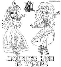 monster 13 wishes coloring pages print girls