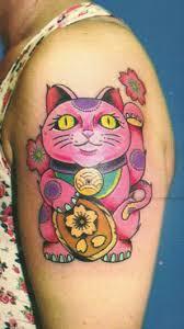 tattoo cat neko lucky cat maneki neko tattoo done by sasha aleksandar orca sun