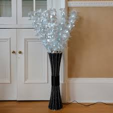 Tall Home Decor Floor Standing Fibre Optic Lamp Flowers Indoor White Lighting Home