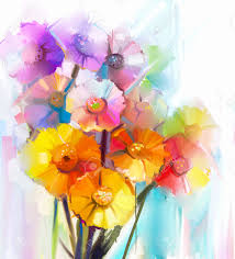 abstract oil painting of spring flower stock photo picture and