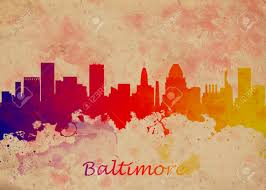 home decor prints watercolor art print of the skyline of baltimore usa beautiful