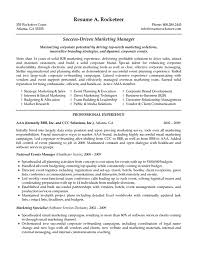 Job Resume Examples For Sales by Marketing Manager Resume