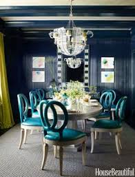 Same Color Walls And Mouldings Color Walls House Beautiful And - Teal dining room
