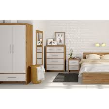 Mfi Bedroom Furniture Sets Mfi London Oak And White Gloss 4 Drawer Tall Chest Victoriaplum Com