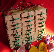 a advent calendar made out of matchboxes i could do this for