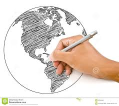 How To Draw A World Map Hand Drawing World Map Globe Line Royalty Free Stock Photo