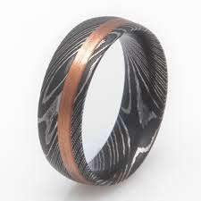 damascus steel wedding band damascus steel ring with copper inlay titanium buzz