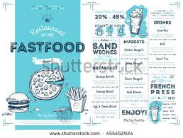 snack bar menu template fast food menu design fast food stock vector 455452924