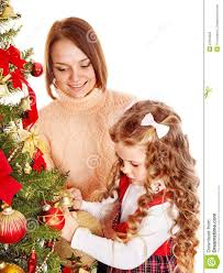 Mother Daughter Christmas Ornaments Mother With Daughter Decorate Christmas Tree Royalty Free Stock