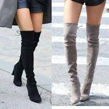 womens boots types stretch faux suede slim thigh high knee boots look lust