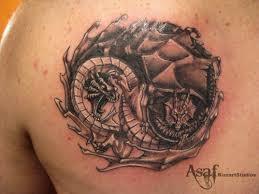 yin yang on back shoulder