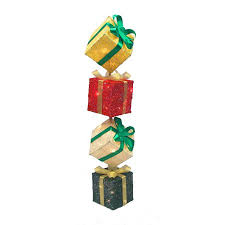 pre lit christmas gift boxes 45 lighted sparkling sisal gift box tower christmas yard