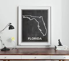 Map Of Florida State by Florida Chalkboard Map Of Florida Florida Poster Florida Wall Art