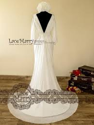 wedding dresses goddess style 1900 s style wedding dress with v cut neckline lacemarry