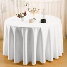 home table cloth 108 round polyester plain tablecloth cheap white