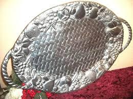 pewter serving platter lenox oval serving tray vtg pewter aluminum basket weave fruit