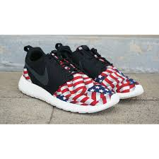 rosch run nike roshe run custom white blue american flag edition