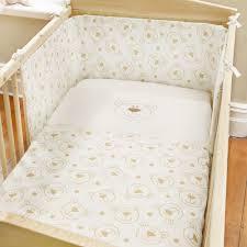 Cot Bumper Sets Baby Bear Cream Brown Gold Beige Teddy Padded Nursery Infant