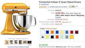 Yellow Kitchen Aid - kitchenaid artisan 5 quart stand mixer for 169 99 shipped