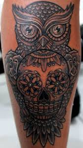 collection of 25 owl sugar skull and tattoos on chest