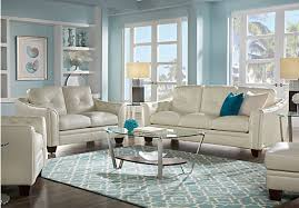 Beige Leather Living Room Set 2 399 99 Marcella Ivory White Leather 3 Pc Living Room