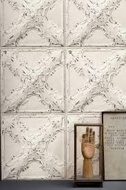 antique off white tin tiles trompe l u0027oeil wallpaper