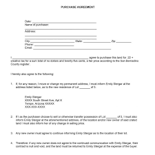 agreement land purchase agreement form