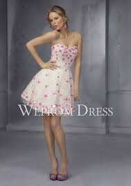 floral patterned prom dress with strapless neckline in a line