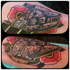 millennium falcon space tattoo and flower by nick rose tattoonow