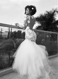 white mermaid tulle long bridal gown long sleeve backless