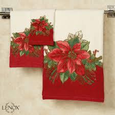 lenox poinsettia tartan bath towel set