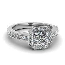 antique diamond engagement rings octagon round vintage halo diamond engagement ring in 14k white