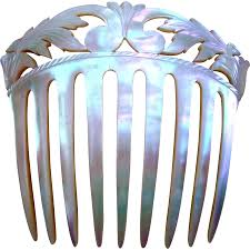 decorative hair combs of pearl hair comb with carved and pierced foliate