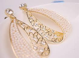 trendy gold earrings korea pearl gold plated rhinestone fashion trendy jewelry earrings