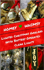 lighted garland with battery operated clear lights