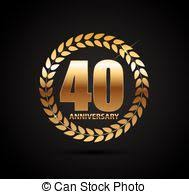 40th anniversary color 40 years anniversary vector icon logo gold color graphic vector