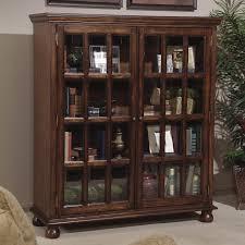 Square Bookshelves Furniture Square Dark Brown Wooden Bookshelves With Glass Doors