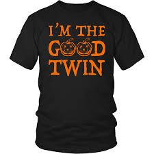 i u0027m the good twin t shirt halloween pumpkin witch u2013 teebaz shirts