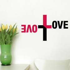 Home Decor Wall Art Stickers Love Vinyl Quote Wall Decal Sticker Christian Religious Cross Wall