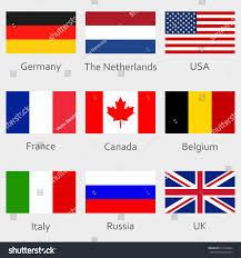 German British Flag Flags Icon Set National Symbol Usa Stock Vector 615916403